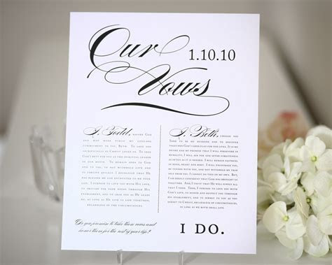 Wedding Vows Print Gift First Anniversary Tabl On Tried