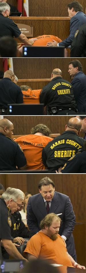 Ronald Haskell desmaia em tribunal (Foto: Houston Chronicle/AP)