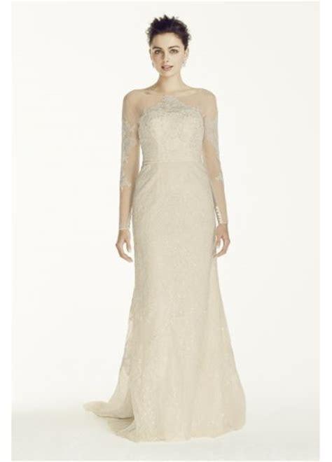 Oleg Cassini Illusion Sleeved Lace Wedding Dress   Davids