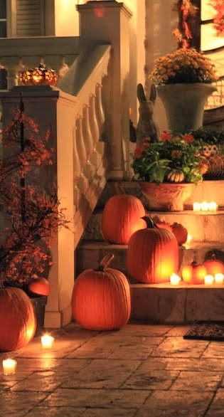 decorated fall porch...
