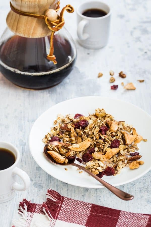 Apple Cinnamon Granola is brimming with the delicious flavors of fall. It's perfect for breakfast, or an after school snack.