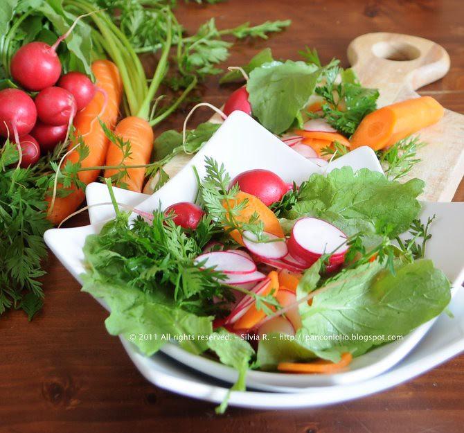 insalata di foglie di carota e di ravanello