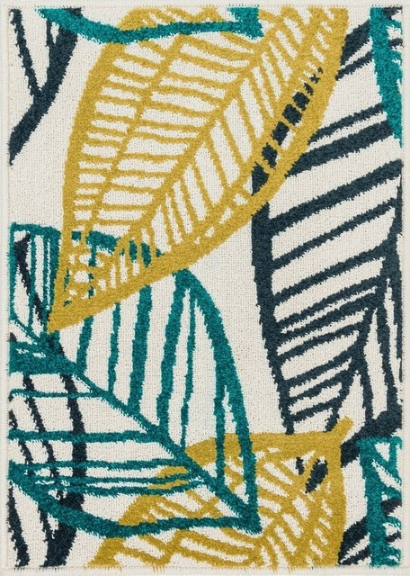 "Loloi Terrace Collection Rug, Ivory and Teal, 1'8""x5' - Transitional - Outdoor Rugs - by Loloi Inc."