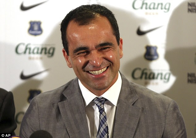New job: Roberto Martinez took over as Everton boss this summer as he replaced David Moyes