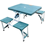 Outsunny Outdoor Portable Folding Picnic Table with Seats, Green