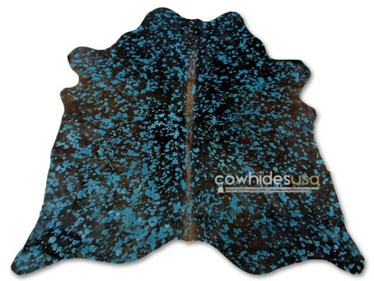 Turquoise Cowhide Rug Size: 4.7 X 5 ft Turquoise on Brown