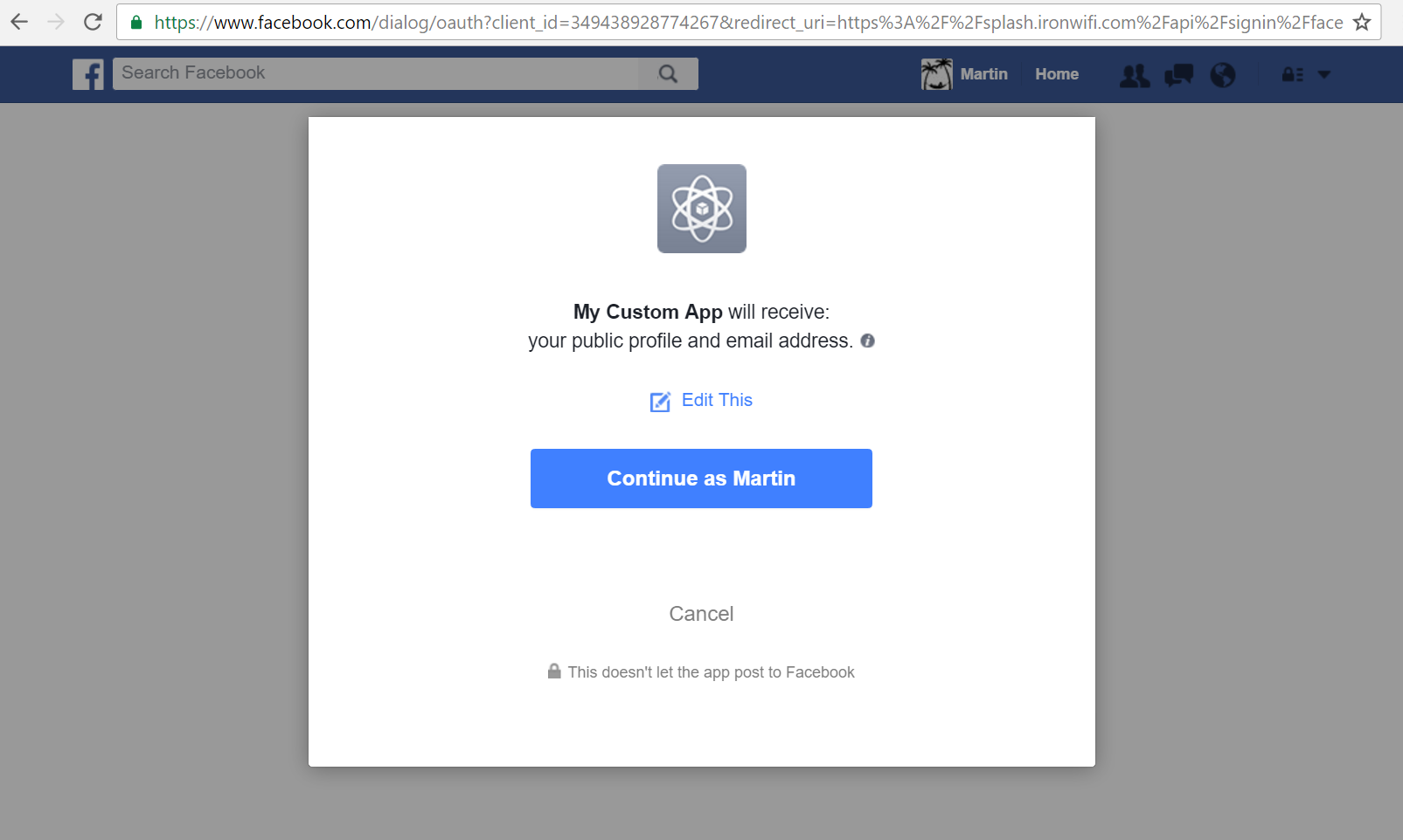facebook authorize access