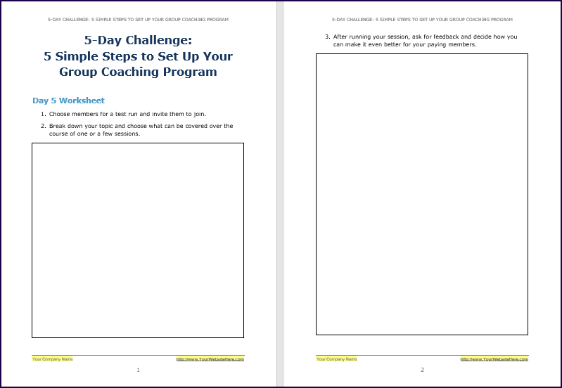 Create Your Group Coaching Program - Challenge Worksheet 5