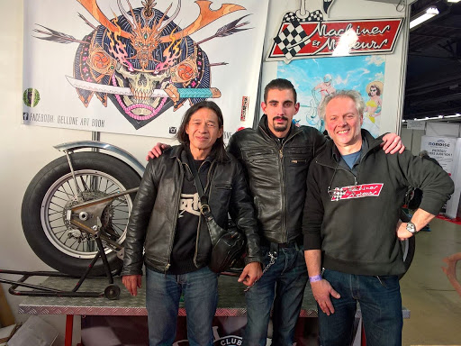 The Team Machines et Moteurs with the president Dédé Chardin of Triton Club de France at Moto-Salon 2016.