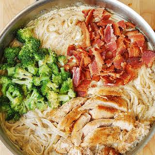 Creamy Broccoli, Chicken, and Bacon Pasta.