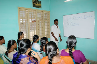 Photo: Our Trainer conducting a lecture session on Life enrichment education