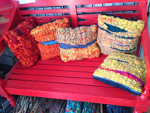 Photo: hand dyed and carded and spun and woven and sewed  throw pillows