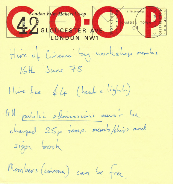 Photo: Cinema Booking London Film Makers Co-op 42 Gloucester Ave, London NW1 for Student Film Show of St Martin's School of Art June 1979