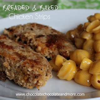Breaded and Baked Chicken Strips with Velveeta #CheesyShells