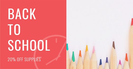 Back to School Supplies - Facebook Event Cover Template