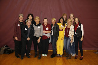 Photo: FSU Indoor Volleyball Reunion in Tully Gym and on the field before the homecoming game against Virginia.