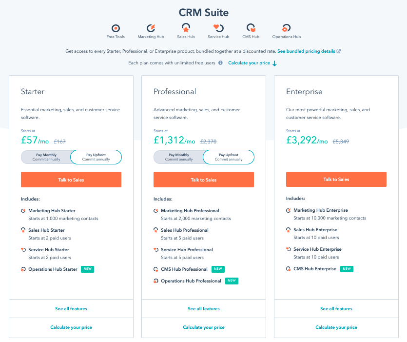 HubSpot CRM Suite Pricing