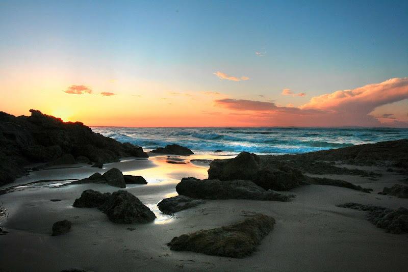 An HDR photo of Stradbroke Island at sunset near Brisbane, Queensland.