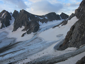 Photo: The wide saddle in the middle is Bonney Pass, where we came from and where we'll have to go back up and over.