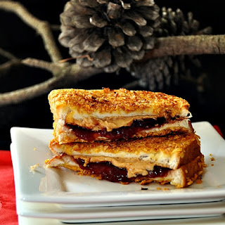 Cornflakes Crusted Grilled Peanut Butter & Jelly Sandwich.