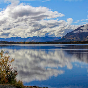 Reflective Clouds by Rev Marc Baisden - Landscapes Waterscapes ( travel adventure, alaska, lakes, reflections, copper valley )