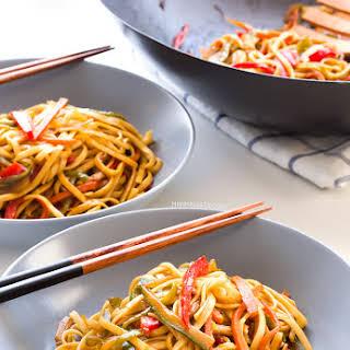 Vegan Stir Fried Udon Noodles.
