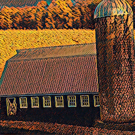Barn and Fields by Roxanne Dean - Digital Art Places ( barn, countryside, autumn, fields, scenic,  )