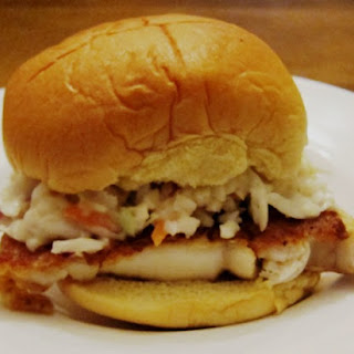 Easy Tilapia Fish Sandwich Recipe With Coleslaw.