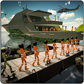 Stickman Army Criminals Transport Ship Simulator