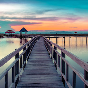 Wooden bridge in National Park, Thailand by Nuttawut Uttamaharach - Buildings & Architecture Bridges & Suspended Structures ( plant, mountain, wood, colorful, bright, tropical, thailand, thai, beauty, leaf, landscape, spring, blossom, sam, lotus, sky, nature, khao, asia, walkway, samroiyod, water, peaceful, park, pathway, vintage, flora, green, national, beautiful, lake, scenic, environment, season, blue, color, sunset, outdoor, roi, yod, bridge, natural )