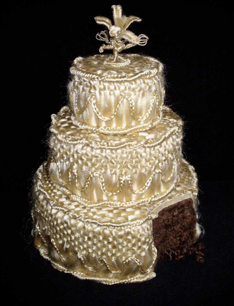 Shorn out of Wedlock: A hair wedding cake by artist Jane Hoodless.