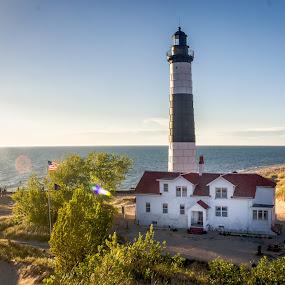 Ludington Lighthouse Vista by Chris Mowers - Buildings & Architecture Public & Historical ( water, sand, michigan, lake michigan, desert, ludington, vista, dune, michigan state parks, ludington state park, view )