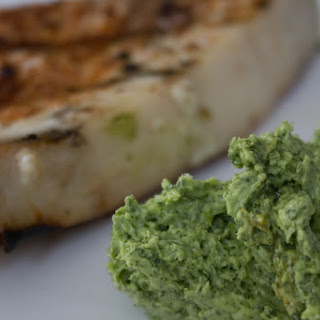 Grilled Swordfish with Cilantro & Lime Butter.