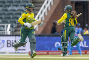 Sune Luus and Mignon du Preez of South Africa during the 3rd Womens T20 International match between South Africa and India at Bidvest Wanderers Stadium on February 18, 2018 in Johannesburg, South Africa.