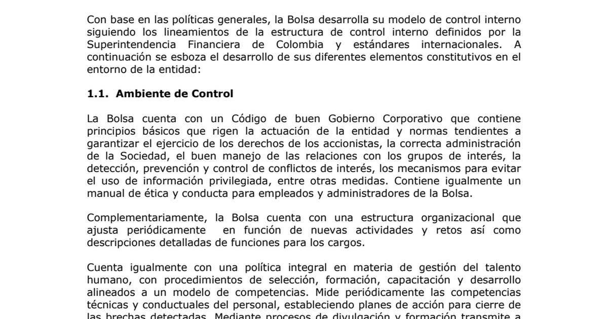 Estructura Control Interno Bvc Pdf Google Drive