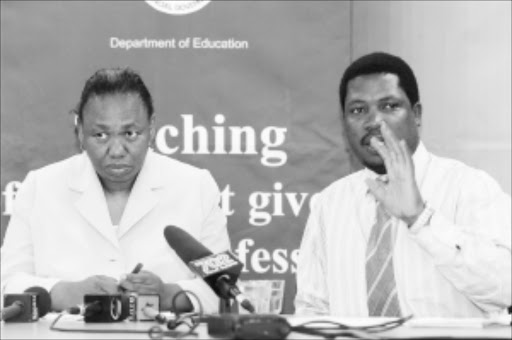 TOP LEVEL: Left: Minister of Basic Education Angie Motshekga and her spokesperson Panyaza Lesufi. Pic. Martin Rhodes.