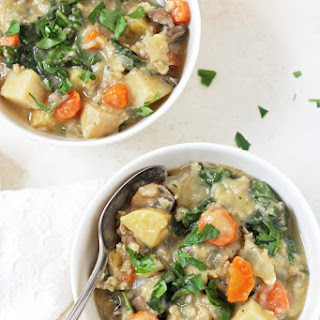Slow Cooker Creamy Veggie & Wild Rice Soup.
