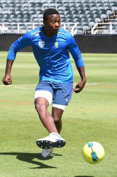 Kagiso Rabada, of the Proteas, during the South African National cricket team training session and media conference at the Bidvest Wanderers Stadium in Johannesburg on Thursday