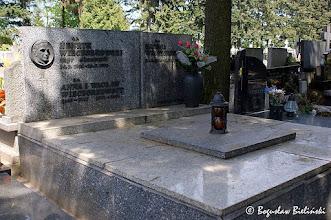 Photo: Obok pomników tradycyjnego nurtu, na łódzkim cmentarzu św. Franciszka, znajduje się znaczna ilość współczesnych dzieł sepulkralnych o monumentalnych, modernistycznych i konstruktywistycznych formach i skromnej ornamentacji, czego przykładem jest grób rodziny Wieczorkowskich. Architektura pomnika sklada się z dość wysokiej prostopadłościennej nadziemnej wybudowy, w tyle której  umieszczona jest prostokątna dwuczłonowa stela, dekorowana brązowym tondem z portretem zmarłego i inskrypcjami z metalowych liter o kroju opartym na klasycznej antykwie.  Miejsce wiecznego spoczynku m. in: Henryka Wieczorkowskiego, mgr ekonomii (ur. 14. 02. 1906, zmarłego 28. 01. 1970),  Anny Wieczorkowskiej (1885 - 1945), Wacława Wieczorkowskiego (1878 - 1954)