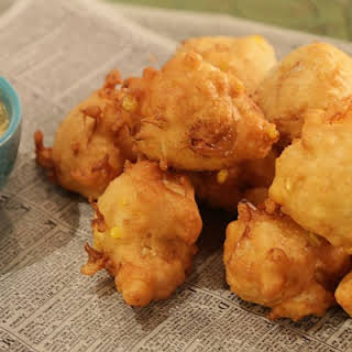 Crab and Corn Fritters with Fresh Corn Mayo.