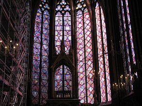 Photo: And inside theSainte-Chapelle. It is a little known chapel because the nearby Notre Dame claims the crowds. However, it has the largest and the most astounding stained glass windows.