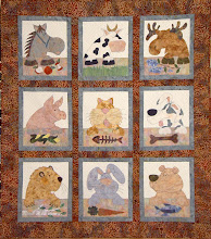 Photo: Natures animals enjoy a snack amongst their friends in Trisha's version of HBH103 Munch A Bunch pattern.