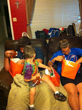 Photo: My sister took them home to the kids and they dug in right away. My niece and nephew get such a kick out of playing with my boy so they are loving that he is staying with them all week. My sister said they had fun digging through the bags and comparing their prizes.
