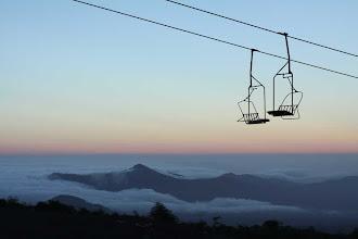 Photo: gelukkig was er weinig wind en kon voor de eerste 200 m de stoeltjeslift gebruikt worden
