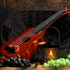 by Dipali S - Artistic Objects Other Objects ( music, song, concert, musical, wood, relax, vintage, folk, still life, texture, jazz, art, score, rock, instrument, arrange, lantern, violin, ukulele, grapes, performance, melody, ballard, design,  )
