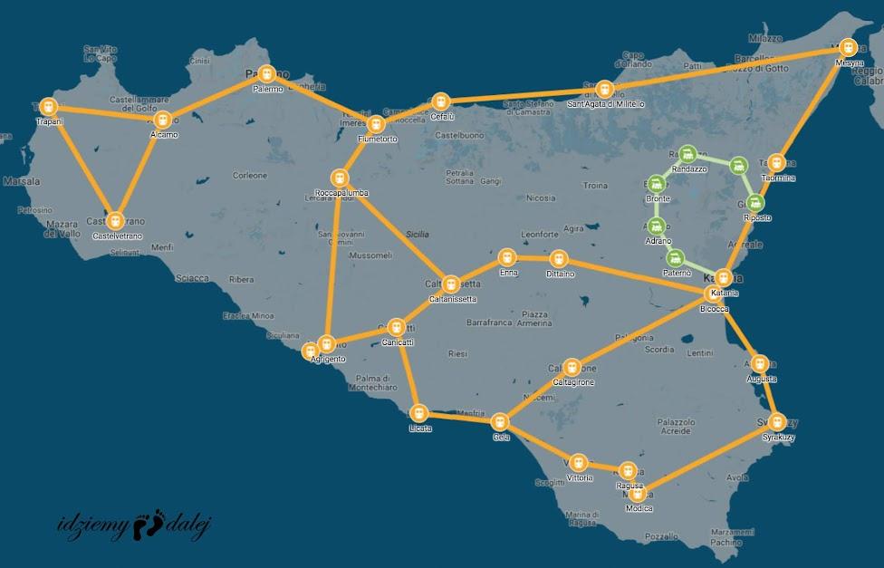 Schemat sieci kolejowej na Sycylii, Sicily train map, Sycylia, kolej, Włochy