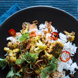 Vadouvan-Roasted Cauliflower with Harissa Chickpea Curry.