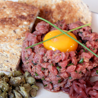 Steak Tartare with Pickled Shallots.