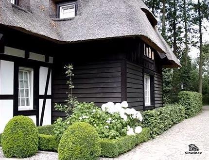 Elegancki dom z muru pruskiego i dachem trzcinowym z czarnymi elementami ścian w otoczeniu parkowym