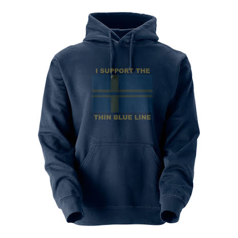 "Hoodie ""Support Thin Blue Line"" med svensk flagga"